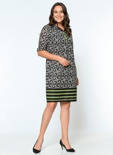 Desenli Kısa Elbise-Selen Plus